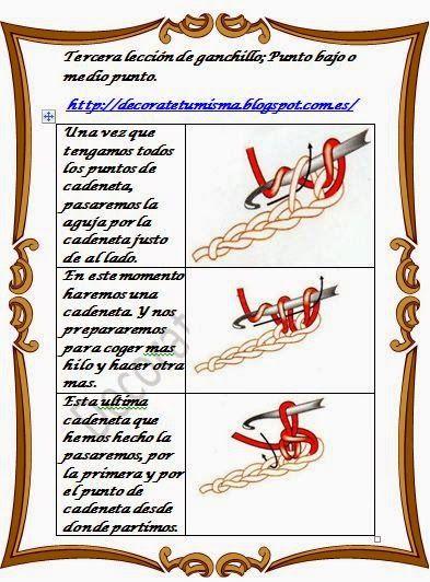M Decorate tu misma.: Tercera lección de Ganchillo o crochet ; Punto bajo o medio punto.