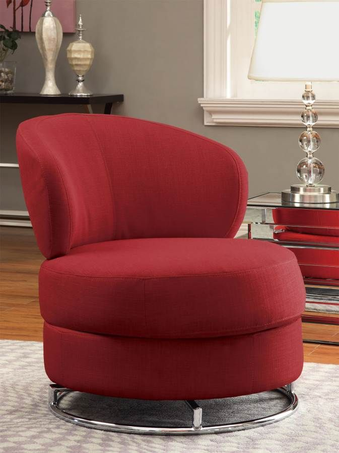 Red Fabric Thick Padded Comfort Accent Swivel Chair Sofa w  Round Chrome  Base174 best Accent Chairs images on Pinterest   Accent chairs  Living  . Round Swivel Living Room Chair. Home Design Ideas