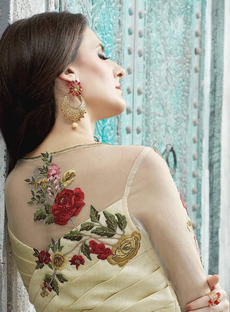 Embroidered Off White Anarkali Dress Designs Indian
