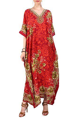 b0437947d6 Miss Lavish London Femmes Kaftan Tunique Kimono Grande taille Robe pour  Loungewear Vacances Nuit Vêtements Plage Tous les jours Haut Robes Rouge EU  46-50