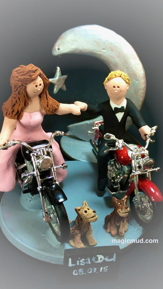 Harley Wedding Cale Topper  Custom Made to your specifications. Made just for your wedding day! Both the bride and groom are riding their own harley motorcycles!!    any style of motorcycle can be incorporated,,,a dirt bike, road bike, sport bike, Honda, Suzuki,Yamaha, Kawasaki  #magicmud, $235   1800 231 9814  www.magicmud.com
