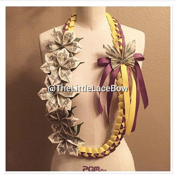 Graduation Money Lei-Grosgrain Ribbon w/ 5x Flowers w/Leafs and 1x Butterfly (17 Dlls) STYLE O