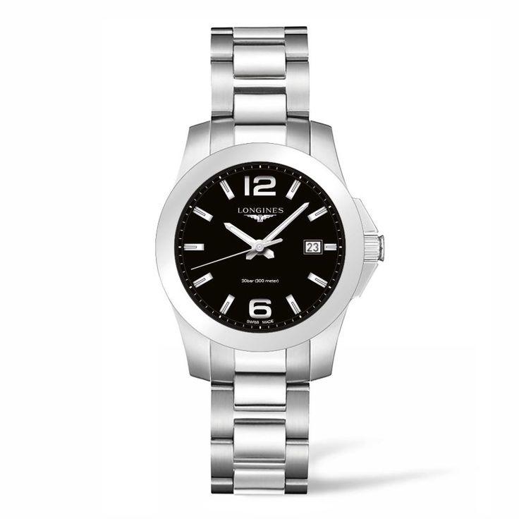 L33784586 Γυναικείο ελβετικό ρολόι LONGINES Conquest quartz με ημερομηνία, μαύρο καντράν & μπρασελέ | Γυναικεία ρολόγια LONGINES ΤΣΑΛΔΑΡΗΣ στο Χαλάνδρι  #conquest #longines #γυναικείο #ρολόι