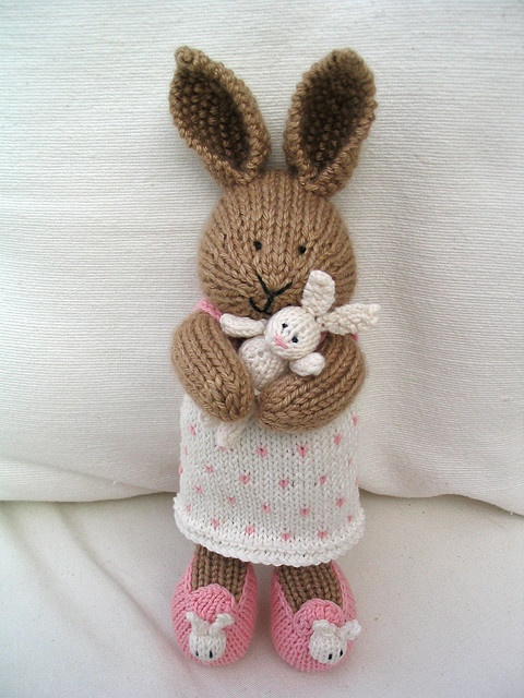 Knitted bunny cuddles handmade by julie from little cotton rabbits.