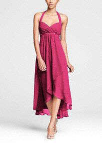 Exceptionally beautiful and ultra-feminine, this dress is perfect for any affair!  Halter bodice features empire waist with dazzling beaded detail.  High-low hem line is perfect for any wedding destination.  Crinkle chiffon fabric is free flowing and comfortable.  Fully lined. Back zip. Imported. Dry clean only.