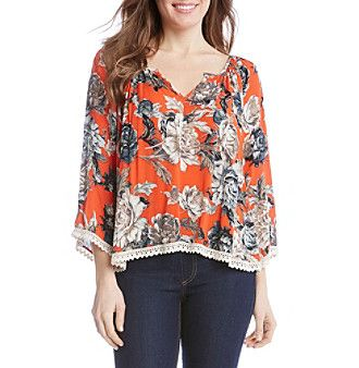 Karen Kane® Rose Garden Lace Trim Blouse
