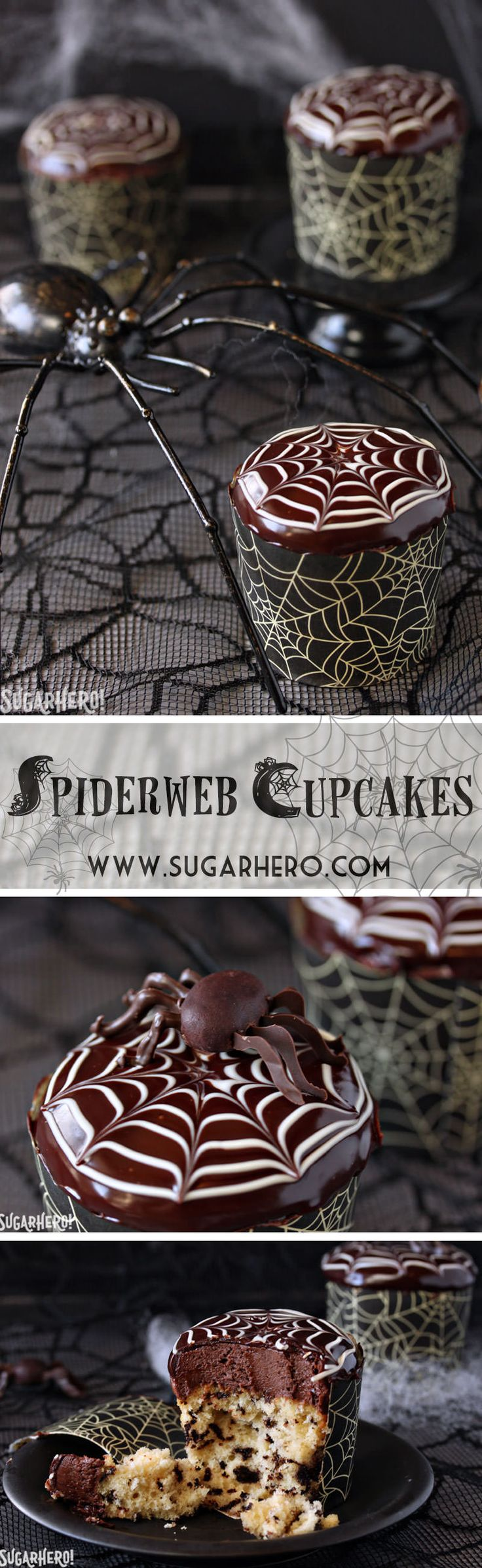 Spiderweb Cupcakes are a cute and easy Halloween dessert! Learn how to make these cupcakes and the adorable chocolate spiders that go on top. | From SugarHero.com