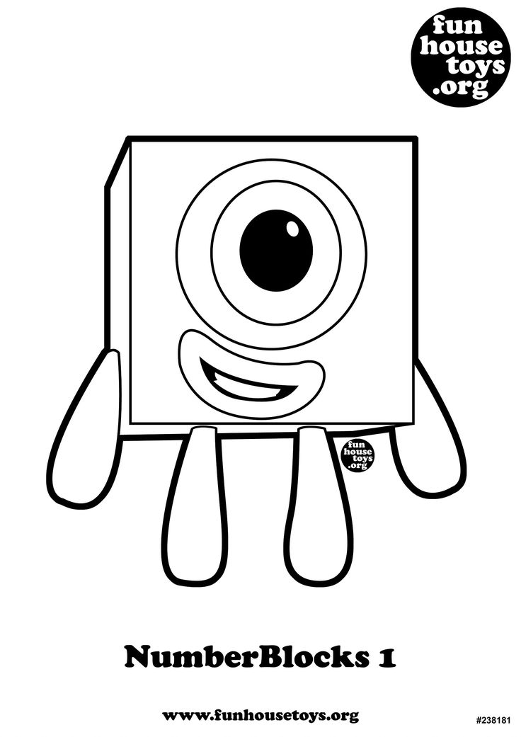 FUN HOUSE TOYS Numberblocks 1 Number Coloring pages