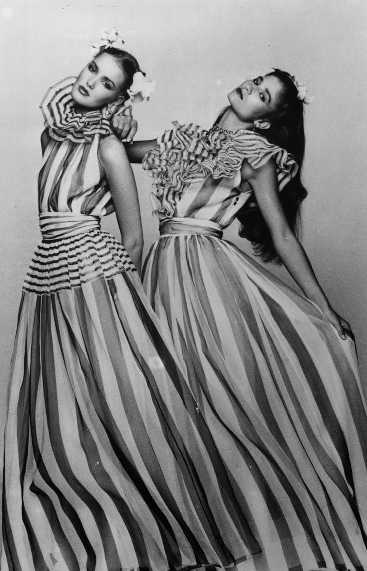 Boutique collection, 1979. 'In the Wind', two organza evening dresses with green, white and red stripes in the 'Boutique' Collection for the spring and summer, from Christian Dior London. (Getty Images) via: vintage everyday: 20 Photos Showing the Beautiful of the 1970s Fashion