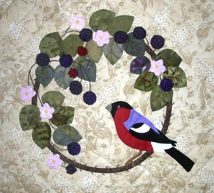 Bullfinch and Blackberries by Nancy Kerns, design by Shirley Bloomfield