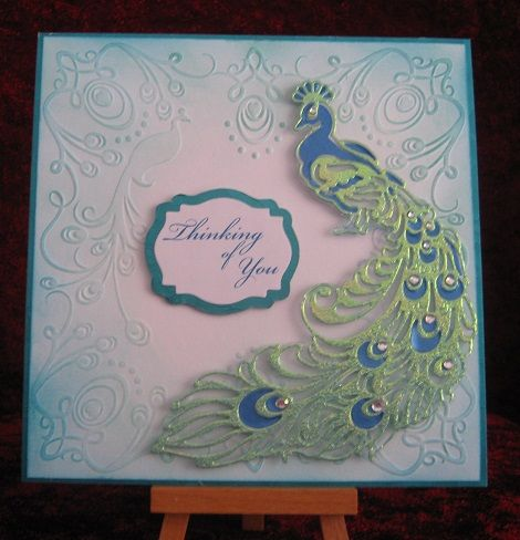 This card was made by Peter Grice using the peacock die