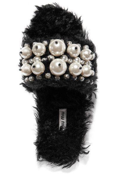 Miu Miu - Embellished Faux Shearling Slides - Black - IT36.5