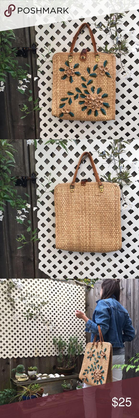 """Floral Straw Summer Tote Super cute summer straw tote. 3D woven straw flowers with blue & green """"leaves"""". Leather handles & closure are weathered & fraying, but it's gives it true vintage charm! Bought at a San Francisco vintage shop. Perfect for a summer picnic! Vintage Bags"""