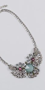 Plus size Short silver and stone necklace