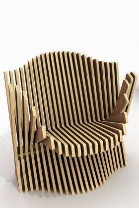 The chair can create all vertical, horizontal, diagonal, and curved lines. The movement of the wood slabs cause the different lines.
