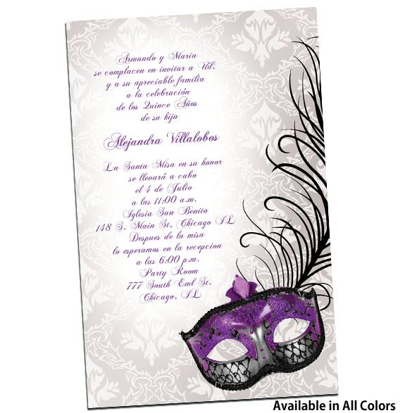 Invitaciones para Quinceanera Con Mascaras from QuinceaneraInvites.com