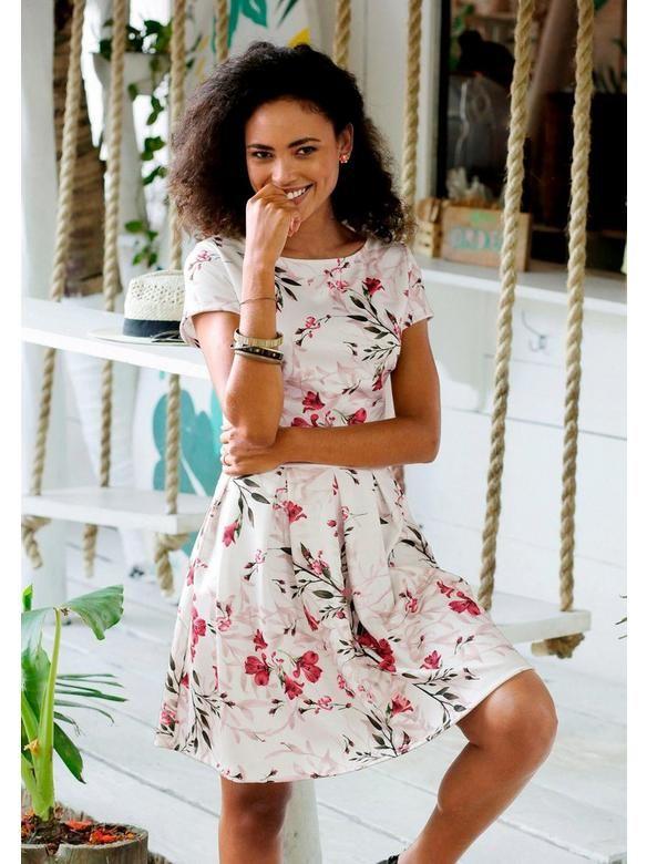 Lascana Lascana Scubakleid Weiss Rot Bedruckt Im Heine Online Shop Kaufen Kleid Blumenmuster Strandkleid Kleid Mit Carmenausschnitt