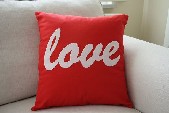 Red Pillow with Love by ATOLYEVIVIAN on Etsy, $30.00