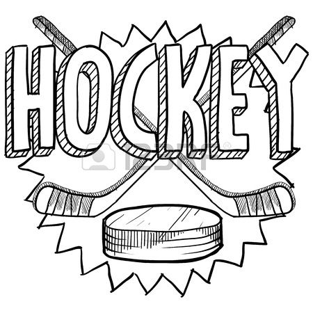 Doodle style hockey illustration in vector format Includes text hockey sticks and puck Stock Illustration