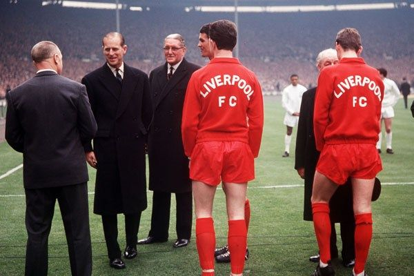 Prince Philip before the start of Liverpools FA Cup Final match against Leeds United, 1965