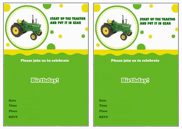 John Deere Birthday Invitations – Birthday Printable