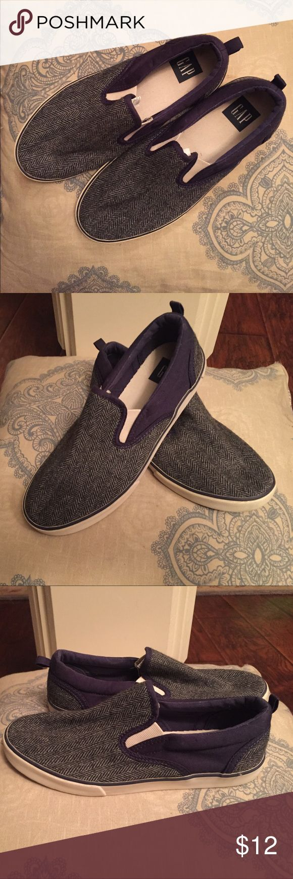 Boys shoes Super cute boys Gap shoes. Slip on gray and navy pattern. Barely worn, like new. Size 5 GAP Shoes Sneakers
