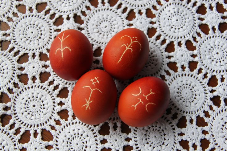 Easter eggs decorated with scratched slavic pagan motifs (pisanka, drapanka)