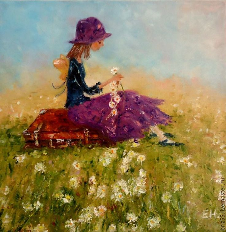 Купить Картина маслом Венок из ромашек - разноцветный, картина в подарок, картина в детскую, картина маслом
