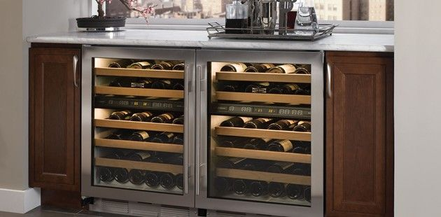 """Sub-Zero 24"""" Wine Storage stores up to 46 bottles in two unique temperature zones. We'll cheers to that!"""