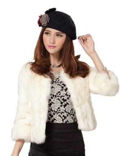 Senfloco Women's Elegant Solid Rex Rabbit Fur Coat Jacket 3 Quarter Sleeve (Medium, White) Was: $639.99 Now: $113.99