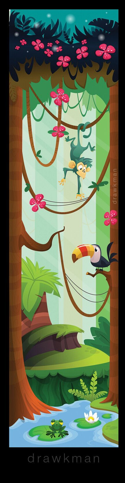 Cartoon jungle game art background design. Vector illustration by drawkman #dra …   – Game Art