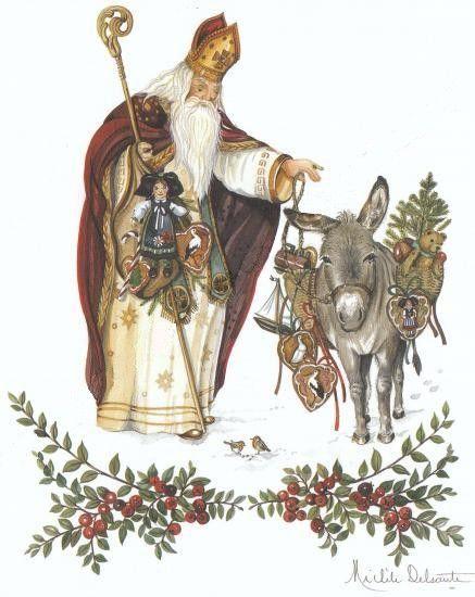 Saint Nicolas et son âne, aquarelle, Michel Delsaute