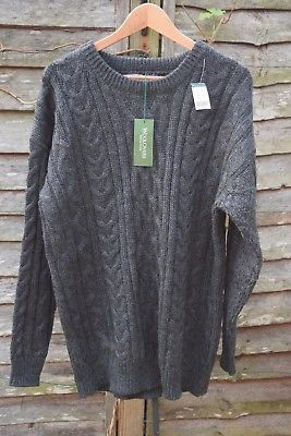 Men's WOOLOVERS Aran jumper, charcoal, large, heavy knit, wool, BNWT