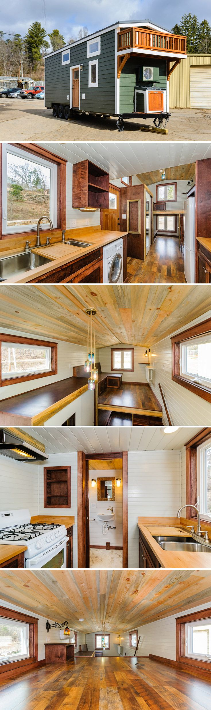 This 208 sq.ft. tiny house on wheels includes a split level loft, balcony, and -- not something we can say often in a tiny house description -- a walk-in closet!  The kitchen has a 9.2 cubic foot refrigerator and 4 burner range with oven.