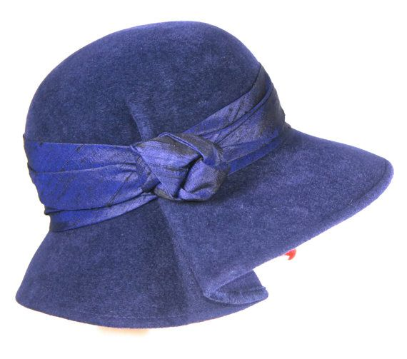 Navy Blue Women's Hat  Fur Felt Winter Cloche by MakowskyMillinery