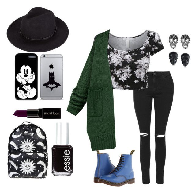 Untitled #28 by punkphoenix on Polyvore featuring polyvore, fashion, style, Topshop, Dr. Martens, Killstar, Shay, Tarina Tarantino, Smashbox, Essie and clothing