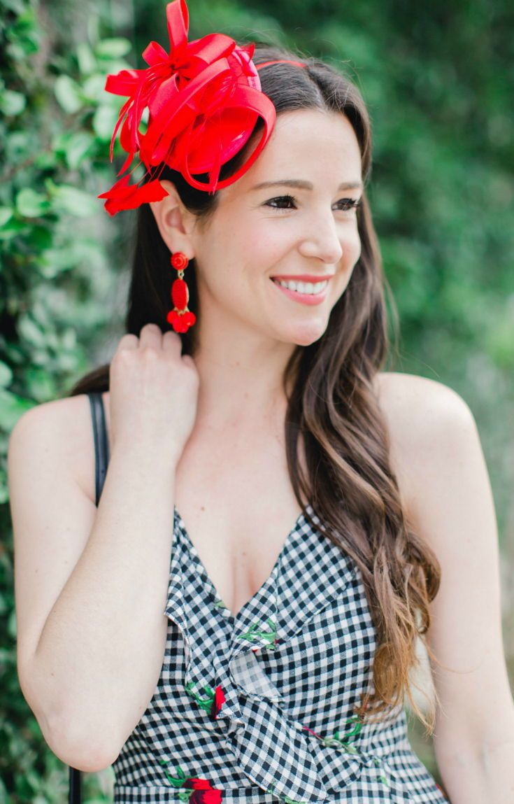 6db0e748ee41f Cute black and white Derby Day outfit idea! Gingham Kentucky Derby dress  with affordable red fascinator headband