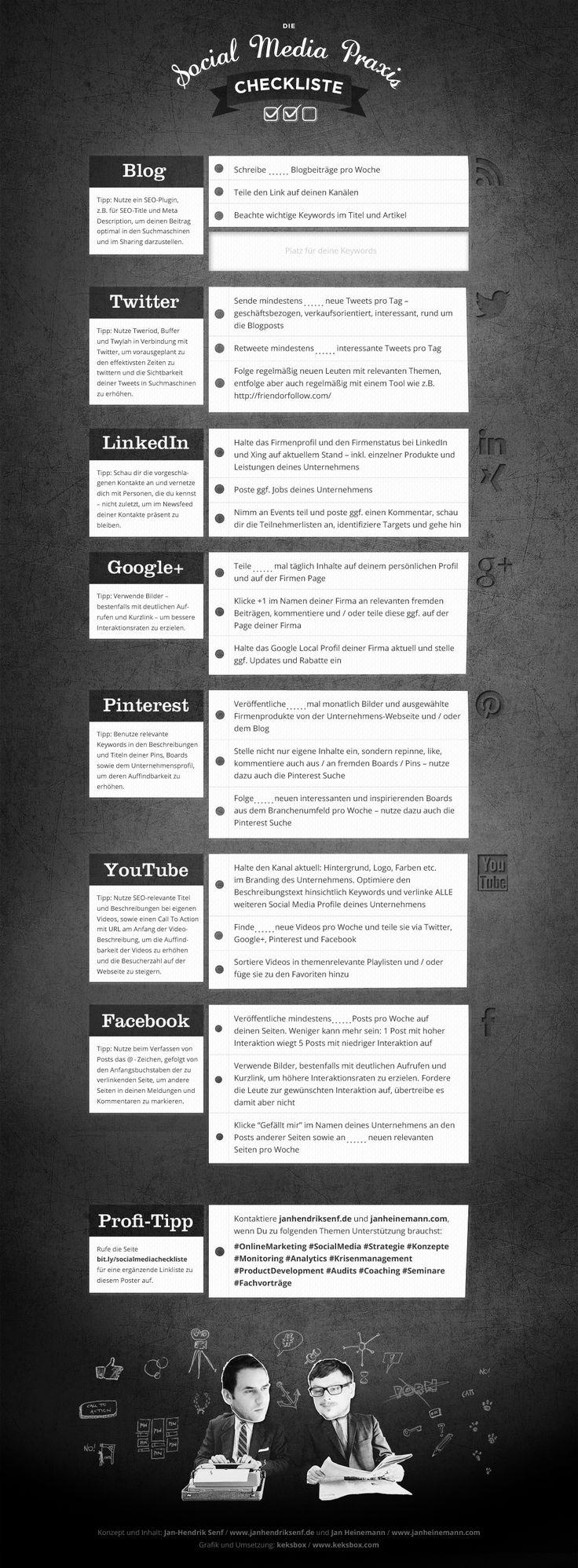 Social Media Marketing Checkliste © SENF.heinemann => Klicken zum Vergrössern <=