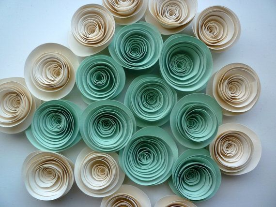 Paper Flowers Mint and Ivory Paper Flowers by DesignbyAndra