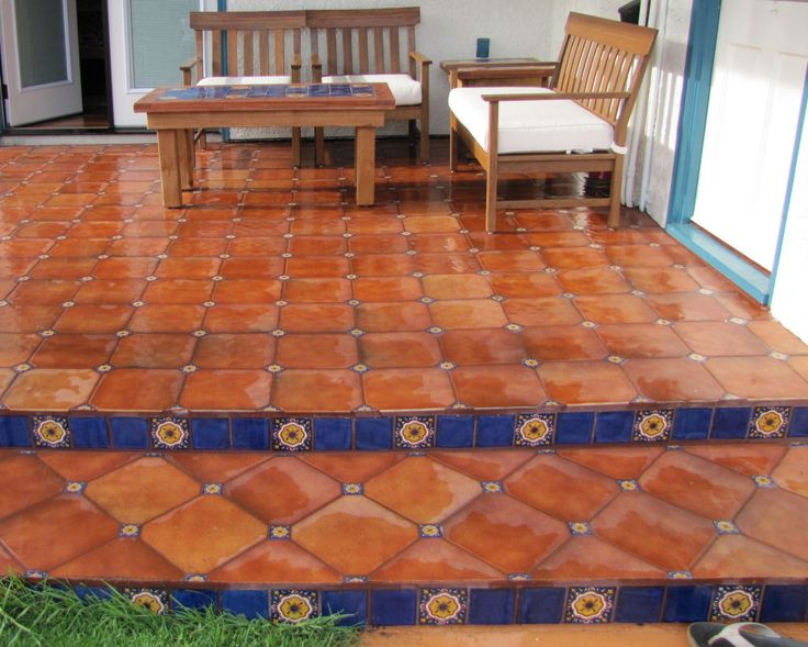 Mexican Floor Tile Combined With Talavera Tile Inserts, Mexican Home Decor  Gallery.