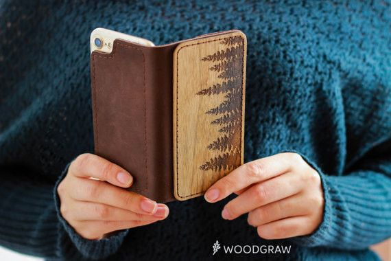 **Forest Wallet Wood Nature Engraved Woodland**  Wooden leather iphone case designed for the iPhone 5/5s, iPhone 6/6S, iPhone 6/6S Plus, iPhone 7, iPhone 7 Plus.   With wooden leather iphone...