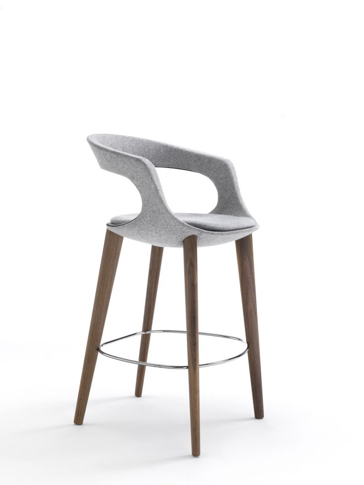 Frenchkiss counter stool with low back and Canaletto walnut legs