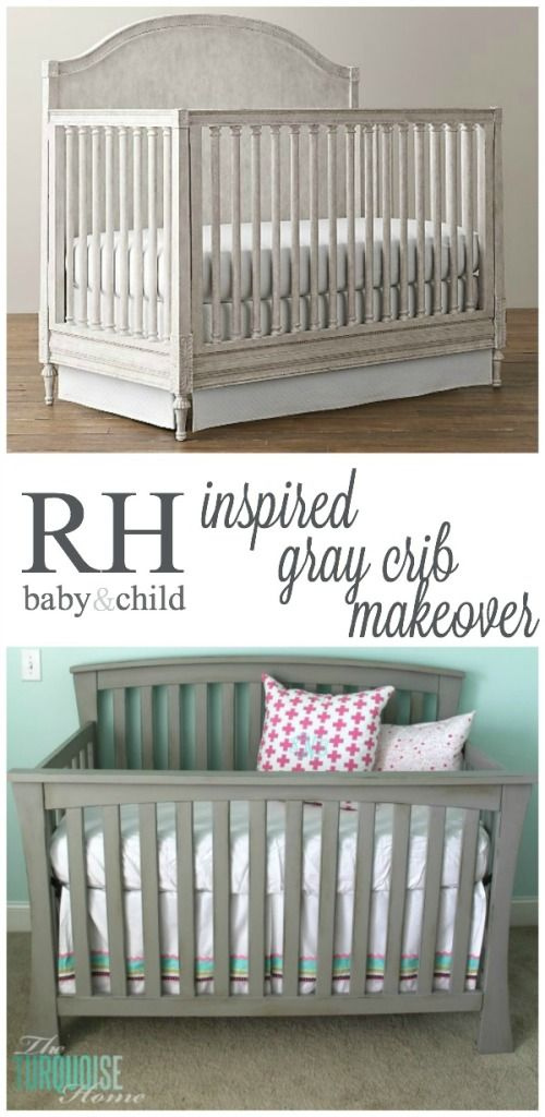 Restoration Hardware Baby and Child inspired gray crib makeover | TheTurquoiseHome.com