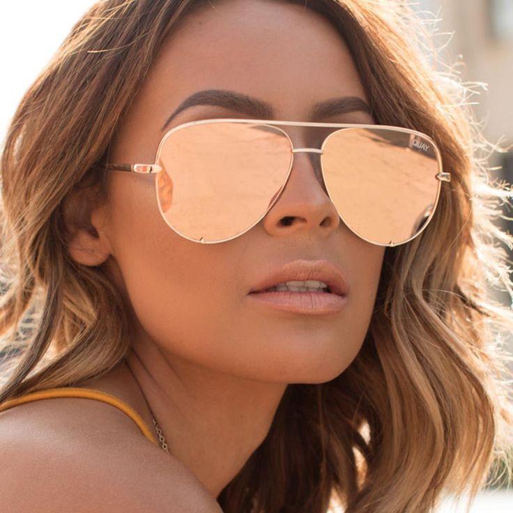 Quay x Desi Perkins High Key Gold / Pink Sunglasses