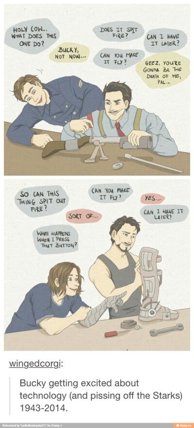 """This is the cutest thing ever, I like to think Bucky and Tony at least get over their differences later on -- maybe Stark gives him a new arm and they bond over that after Steve makes Tony take out the """"stop hitting yourself"""" function"""