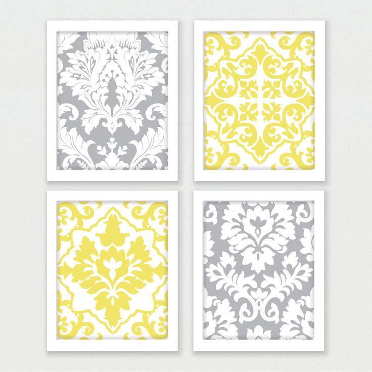 Printable Art Gray And Yellow Set Wall