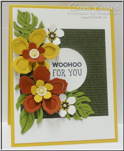 Remember the 2016 Calendar that I made last week using Botanical Blooms and Botanical Builder Framelits? I had a few extra blossoms sitting on my desk, so I made up this card! We can always use a Wooh