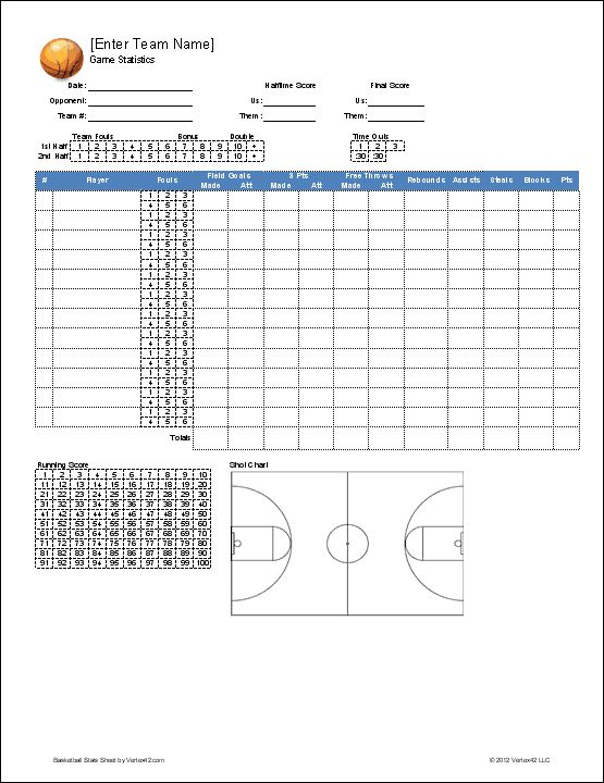 Best Youth Basketball Score Sheets Images On