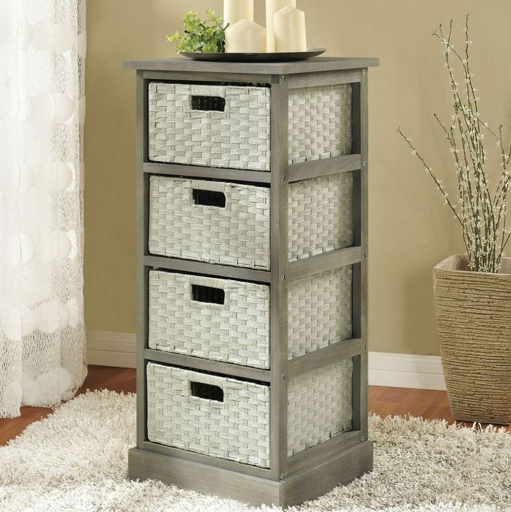 Photo Image Storage Unit with Baskets Bathroom Bedroom Organizer Wicker Wood Drawers