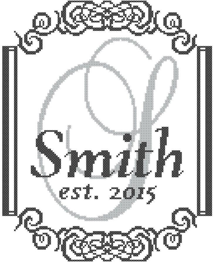 Modern Monogram Cross Stitch Pattern with от oneofakindbabydesign